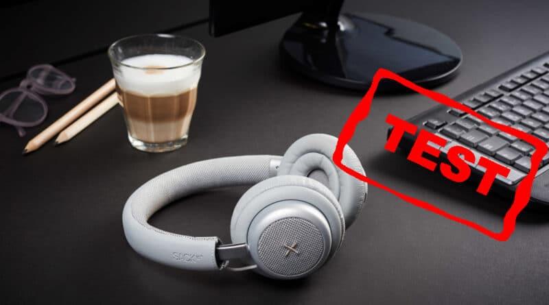 grå version med opbevaringspose - test af touchit hovedtelefoner med aktiv noise cancellation støjreduktion hovedtelefoner med støjdæmpning anmeldelse