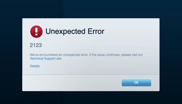 unexpected error 2123 velop linksys nodes light blue internet working no app access via 192.168.1.1 wifi smart login does not work