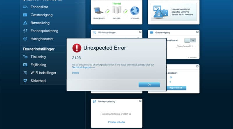 unexpected error 2123 velop linksys nodes light blue internet working no app access via 192.168.1.1 wifi smart login netværk does not work unexpected errorcode 2124