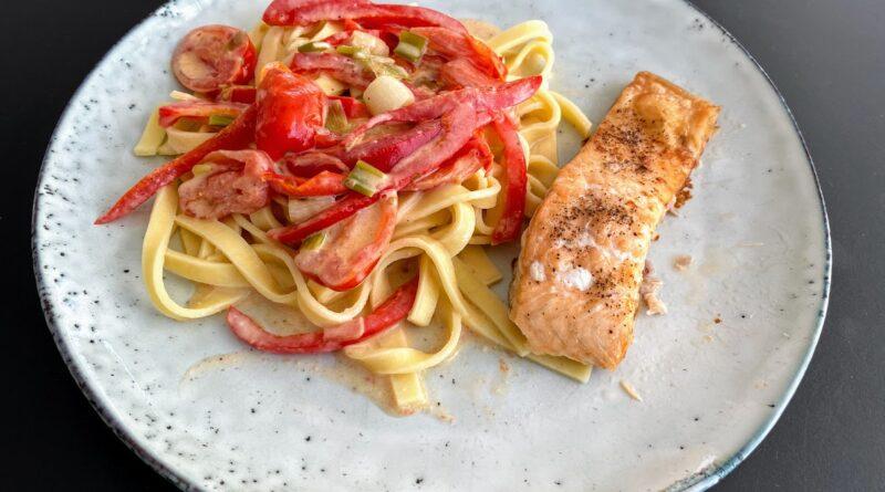 stegt laks med frisk pasta opskrift i ovn pande ovnstegt laks på pande