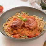mørbrad i fad flødesauce opskrift mørbradbøf i tomatsauce pasta spagetthi