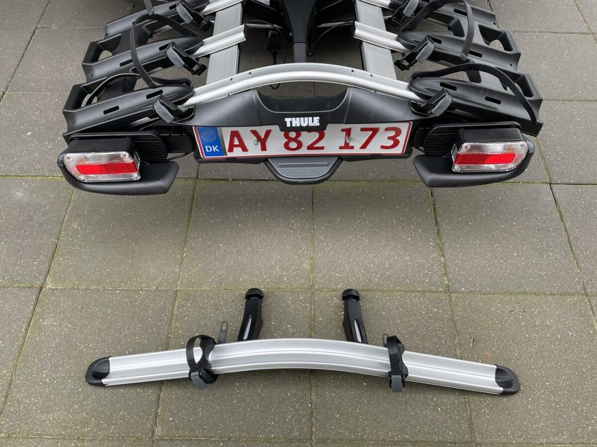 Test af thule VeloCompact 927 926 cykelholder til 3 cykler 4 cykel skinne adapter adaptor ekstra anmeldelse erfaring med cykelanhænger