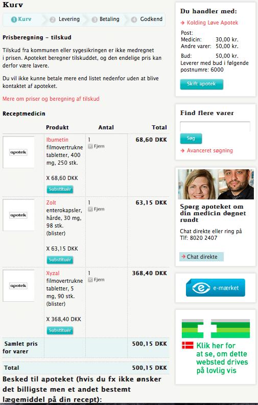 Online medicin recept levering indkøbskurv